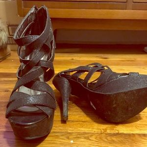 Black 5 inch sparkly heels